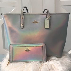 Coach Iridescent Hologram Leather City Zip Tote